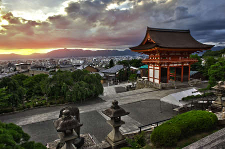 kyoto: Beautiful dramatic sunset seen from the Kiyomizu-dera shrine above Kyoto, Japan. HDR