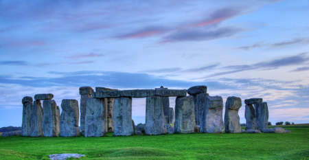 stonehenge: Historical monument Stonehenge not far from town of Amesbury at sunset, England. HDR Stock Photo