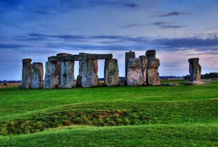 hdr: Historical monument Stonehenge not far from town of Amesbury at sunset, England. HDR Stock Photo