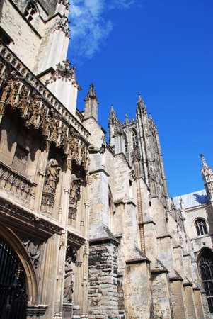 canterbury: Famous Canterbury cathedral against the blue sky
