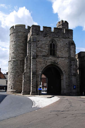 canterbury: Very old medieval gate called Westgate in the town of Canterbury, Kent - Great Britain Stock Photo