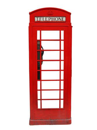 cabina telefono: Tradicional rojo cabina de tel�fono brit�nico aislada sobre fondo blanco Foto de archivo