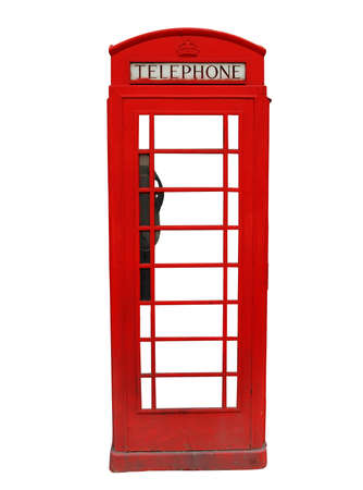 Traditional red British telephone booth isolated on white background photo
