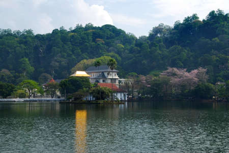 One of the most famous landmarks on Sri Lanka, Temple of the Tooth (Dalada Maligava). This buddhist shrine in the city of Kandy contains relic of the Buddha. photo