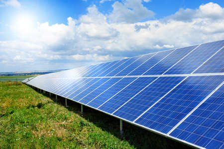 sustainable energy: Solar panel produces green, enviromentaly friendly energy from the sun.