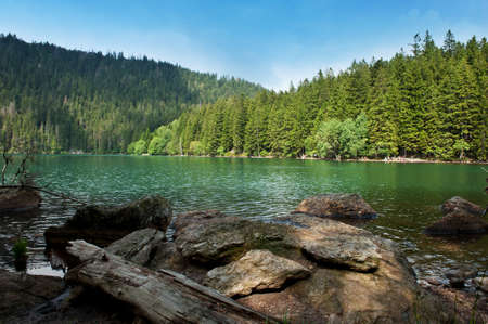 the largest: Black Lake, the Largest natural lake in the Czech Republic is located in the Sumava mountains Stock Photo