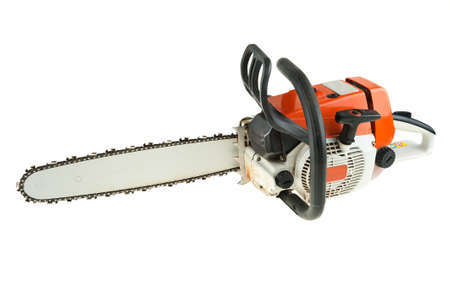 wood cutter: Chain saw is isoltaed on the white background