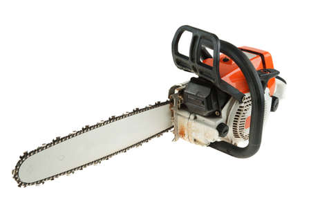 Chain saw is isoltaed on the white background Stock Photo - 10951976