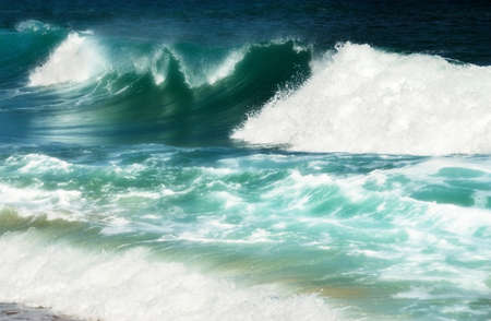 rushing water: Mighty turquoise sea waves create a beautiful abstarct background Stock Photo