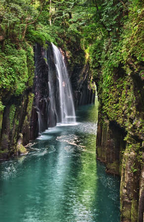chasm: Beautiful gorge Takachiho with a blue river and waterfall, Japan - Kyushu island