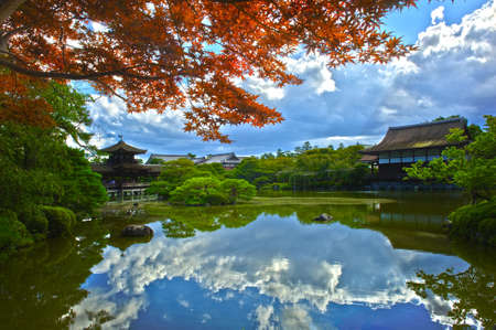 japanese maples: Beautiful Japanese Garden near Heian Shrine is reflecting in the calm water. Stock Photo