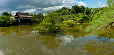 meditaion: Beautiful Japanese Garden near Heian Shrine is reflecting in the calm water. Stock Photo