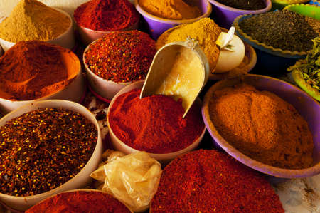 curry spices: Beautiful vivid oriental market with various spices