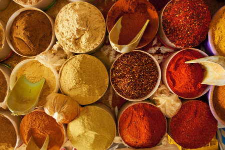 Beautiful vivid oriental market with various spices Stock Photo - 11424930