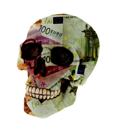 Euroskull is a human skull covered in Euro banknotes and isolated on the white photo