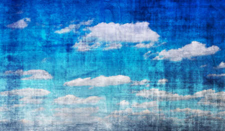 weather map: Vintage blue sky background with many clouds