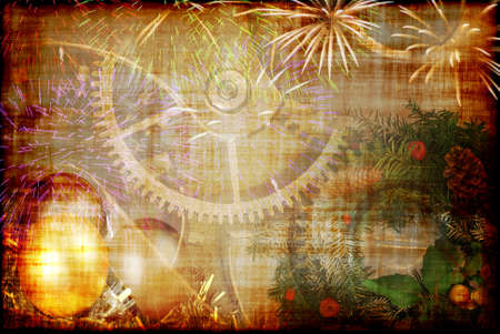 Christmas and New Year background - vintage style photo