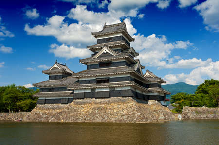 Beautiful medieval castle Matsumoto in the eastern Honshu, Japan Editorial