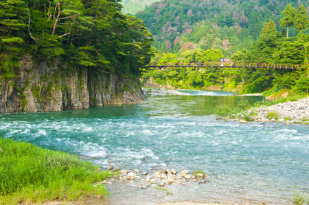 Beautiful landscape in the Japanese mountains with a wild river, red bridge and rock covered by typical pines Stock Photo - 11425724