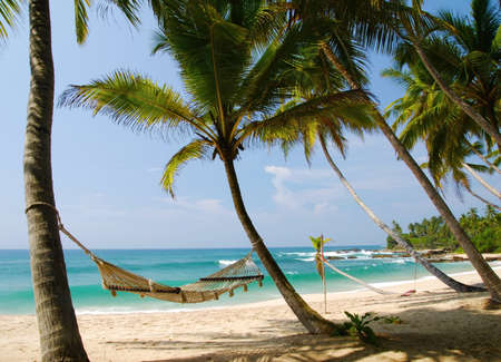 Romantic cozy hammock in the shadow of the palm on the tropical beach by the sea Stock Photo
