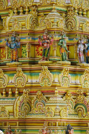 Detail of a beautiful vivid hindu temple  photo