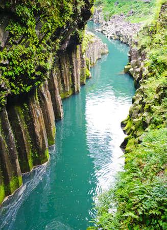 Beautiful gorge Takachiho with a blue river, Japan - Kyushu island photo
