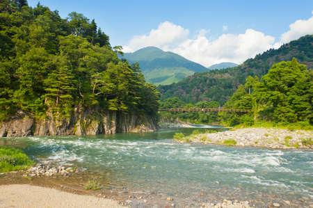 ponte giapponese: Bellissimo paesaggio sulle montagne giapponesi con un fiume impetuoso, rosso ponte e roccia ricoperta da pini tipici