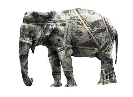 Ritch adult elephant coated in dollar banknotes. Isolated on white
