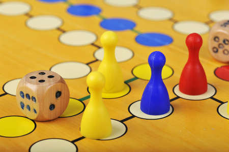 The ancient board game of Ludo (Take it Easy) is trully international. It has its original and specific name and version in many countries across the Globe. Stock Photo