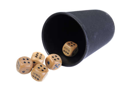 double the chances: The game of dice isolated on white background