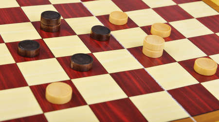 boardgames: Detailed photo of the checkers board game Stock Photo