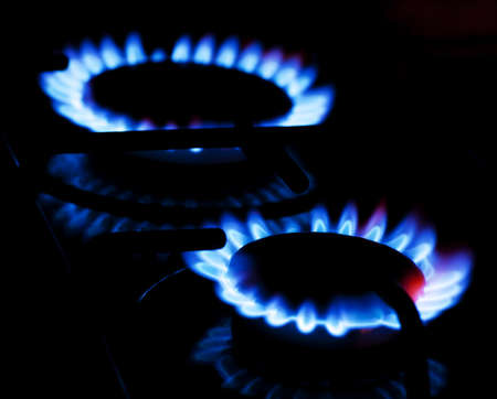 gas stove: Burning gas on the kitchen gas stove Stock Photo