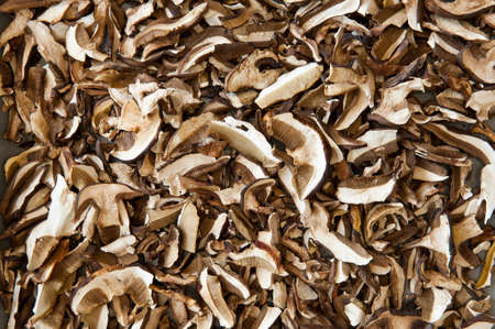 Heap of dried edible mushrooms on the market  photo
