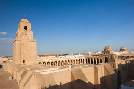 kairouan: Great Mosque of Kairouan, Tunisia is the fourth most sacred place of islam  Stock Photo