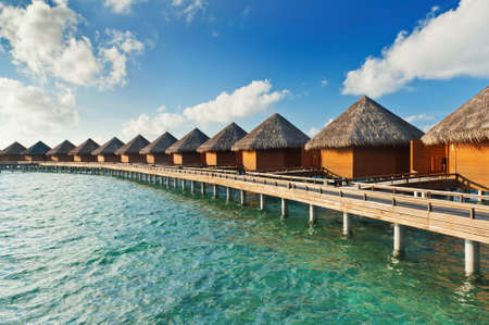 Row of water villas in the Maldives