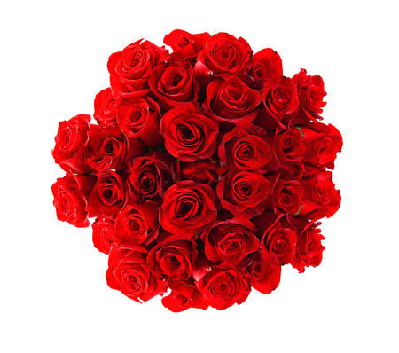 Beautiful red roses bouquet  isolated on white photo