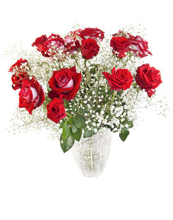 roses in vase: Beautiful red roses bouquet in a crystal vase isolated on white