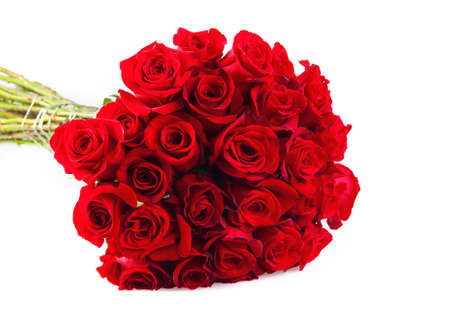 Bunch of red roses isolated on the white background photo