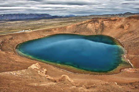 crater lake: Viti is a beautiful crater lake of a turquoise color located on the North-East of Iceland, at Krafla geothermal area near the lake Myvatn HDR