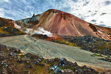 sulphur: Brennisteinsalda mountain is one of the most beautiful and multicolored volcanos in the area of Landmannalaugar, but also in the whole Iceland Stock Photo