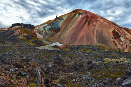 Brennisteinsalda mountain is one of the most beautiful and multicolored volcanos in the area of Landmannalaugar, but also in the whole Iceland Stock Photo - 14646481