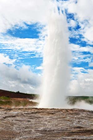 Eruption of the Strokkur, famous Icelandic geyser photo