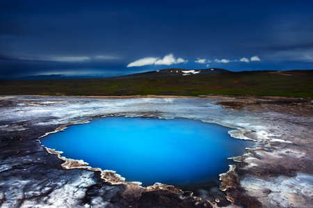 thermal spring: Incredibly blue pool Blahver at Hveravellir is actually a hot geothermal spring in the heart of Iceland