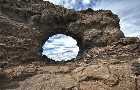 rock formation: Lava window at Dimmuborgir, Myvatn area - Iceland