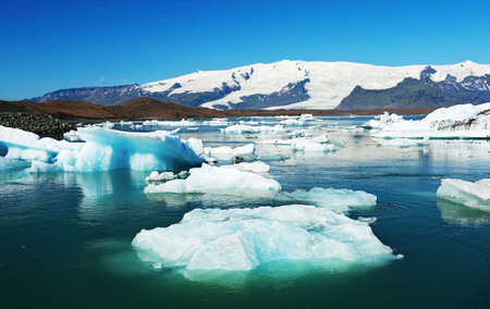Beautiful of Jokulsarlon Glacial lake full of floating icebergs photo
