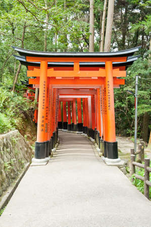 shinto: Famous shinto shrine of Fushimi Inari Taisha near Kyoto includes around 1300 orange torii gates, Japan Editorial