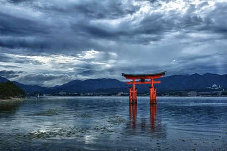 great bay: Great floating gate (O-Torii) on Miyajima island near Itsukushima shinto shrine, Japan shortly after the sunset