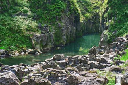 Beautiful gorge Takachiho with a blue river, Japan - Kyushu island photo