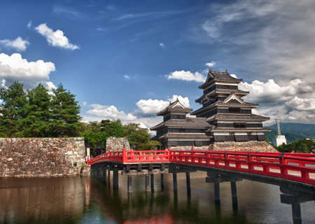 moat wall: Beautiful medieval castle Matsumoto in the eastern Honshu, Japan Editorial