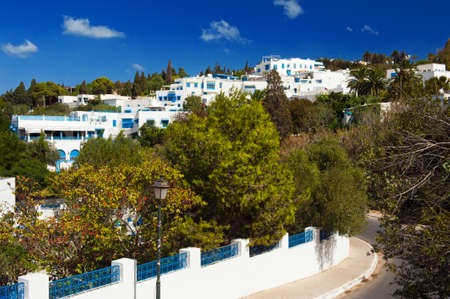 old quarter: Old Tunisian town Sidi Bou Said is today a luxury quarter of the capital Tunis. Sidi Bou Said is known for blue and white colors. Many famous films were taken here.